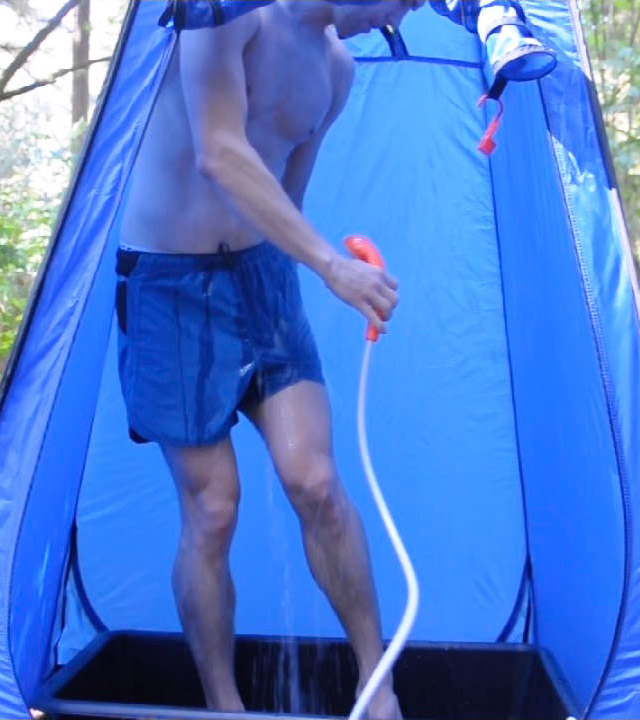 Outdoor shower tent with 12v pump